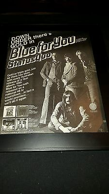 Status Quo Blue For You Rare Original Promo Poster Ad Framed!
