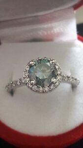 Moissanit - Diamant Silber Ring ca. 1.20 Ct Fancy Blau top Verlobungsring Antrag