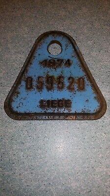"""Ancienne plaque de vélo """"1974 Liège"""" dans son jus"""