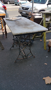 Marble topped garden table courtyard iron sewing machine base South Melbourne Port Phillip Preview