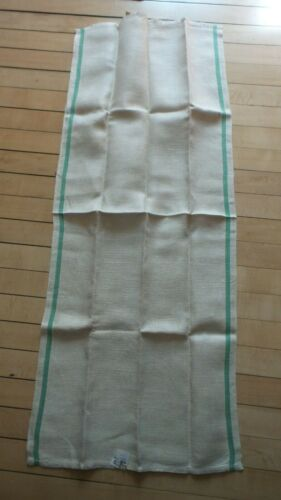 Antique Linen Kitchen Hand Towel Single GREEN STRIPE SIDES