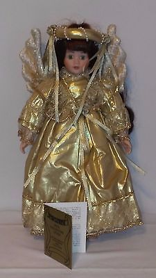 SEYMOUR MANN CONNOISSEUR DOLL COLLECTION GREEN EYED GOLDEN ANGEL WITH WINGS