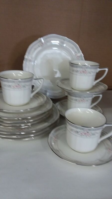 16 pc Noritake China Rothschild Salad, Bread & Butter Plates, Cups & Saucers