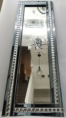Larga Espejo de Pared Humo Gris Plateado Cristal 120x40cm Recibidor Aderezo