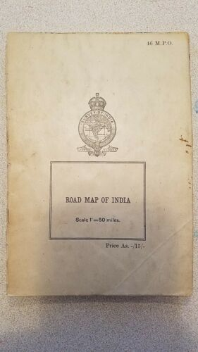 Vintage - Fold Out Road Map -1945 Antique Road Map of India Survey Office India