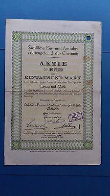 Aktie Sächsische Ein- und Ausfuhr-AG 1000 Mark 1922 -nur 15 Stück im RB-Schatz
