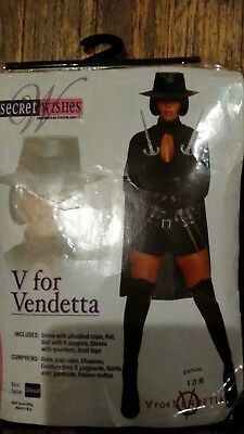 Halloween Costume Secret Wishes V For Vendetta Adult Women Extra X Small XS 4-6 ](Halloween Costumes For 6)