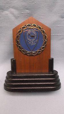 Jaycees trophy solid walnut full color  insert blue award