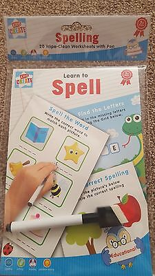 LEARN TO SPELL - Spelling Writing & Reading x20 Wipe-Clean Worksheets with Pen