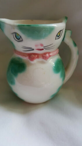 Vintage Kitty Cat Creamer Green with Pink Bow Adorable