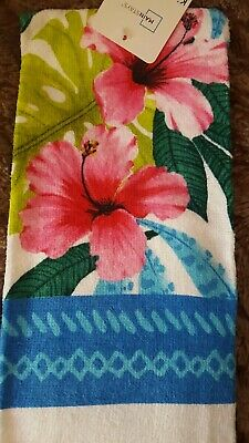 COTTON KITCHEN TERRY DISH TOWEL Summer Tropical Hybiscus Flower Pink