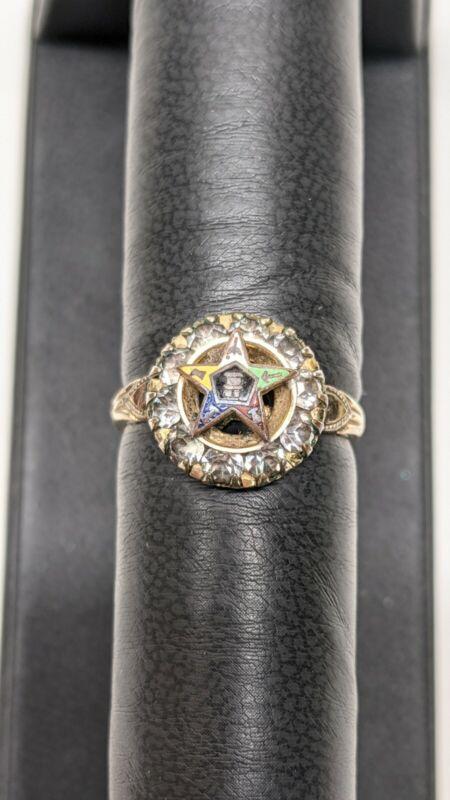 Vintage Order Eastern Star 10k gold filled HEART rhinestone RING Size 6