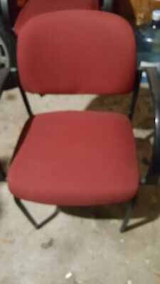 Lot 6 Stackable Side Reception Chair With Arms In Burgundy Used