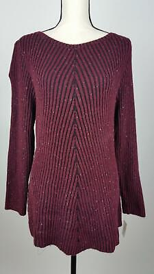 Style & Co Womens Sweater 1X 2X 3X Ribbed Boat Neck Marled Burgundy Red NEW -