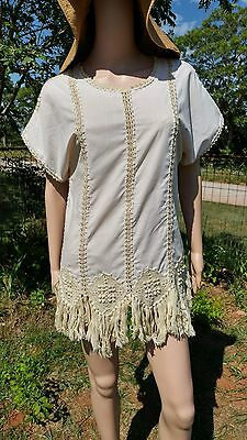 Handmade Vintage Off White Linen Fringe Crochet Tunic PERFECT VINTAGE CONDITION