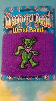 - One Grateful Dead Green Dancing Bear on Purple Sweatband Wristband