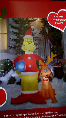 CHRISTMAS SANTA 8 FT DR SEUSS THE GRINCH MAX DOG  AIRBLOWN INFLATABLE YARD DECOR (Dr Seuss Christmas Decorations)