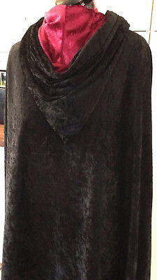 black crushed velvet cloak cape with a lined hood MADE TO ORDER ()