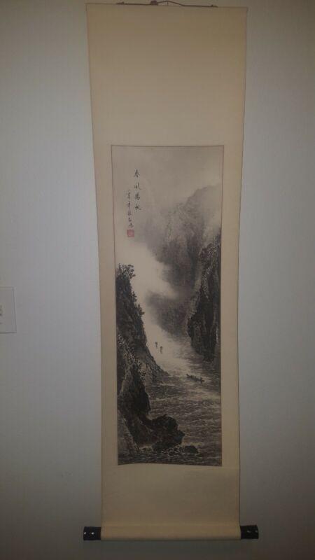 Asian scroll hand painted Chinese Art modern vintage ravine boat feng shui zen