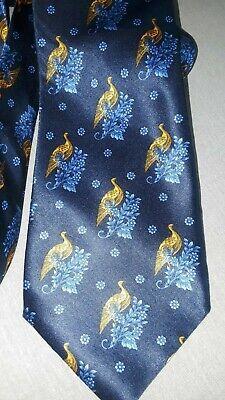 LANVIN Paris Tie Vibrant Blue Gold Peacock design Silk France 58