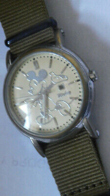 Vintage Mickey Mouse Stainless Steel Wrist Watch WORKS No reserve