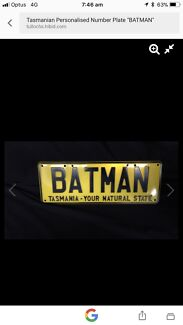 """BATMAN"" Tasmanian Personalised Car Number Plates For sale 21/10"