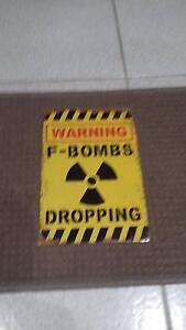 WARNING F - BOMBS DROPPING TIN SIGN........WITH FREE SHIPPING Winthrop Melville Area Preview