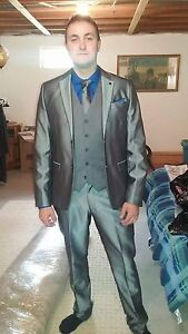 Le Chateau Sharks Skin Silver Suit. Used once