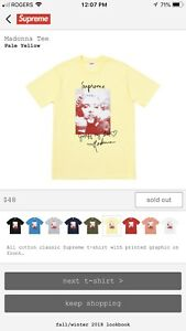 Madonna Tee Supreme FW18 Pale Yellow Size Large