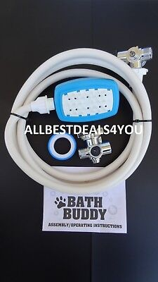 Bath Buddy Dog Shower Sprayer with Brush Grooming  Indoor/Outdoor Use Bath