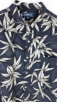 Croft & Barrow Tropical Bamboo Print Black Floral Print Men Shirt Size L Used Tropical Black Bamboo