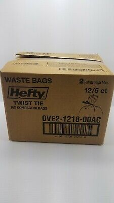 Brand New Hefty Trash Compactor Bags (Twist Tie, 18 Gallon, 5 Count, Pack of 12) 18' Plastic Trash Compactor Bags