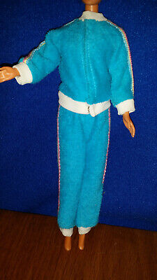 BARBIE Vintage Turquoise STRETCH Jogging Outfit Work Out Terry Cloth Suit Snaps