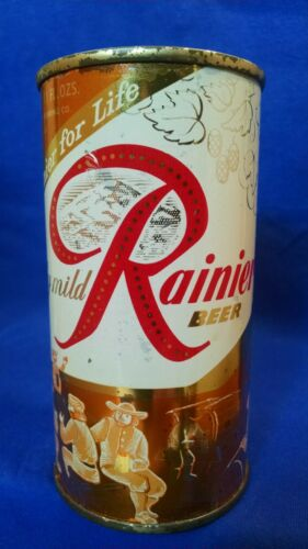 RAINIER BEER ~ RAINIER FOR LIFE ~ 11 FL OZS FLAT TOP CAN ~ SEATTLE WASHINGTON