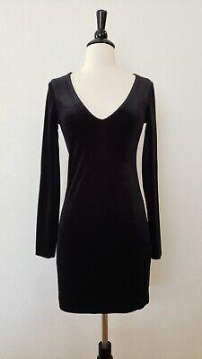 Anthropologie Dress New Size Small Black Soft Velvet V Neck Bodycon