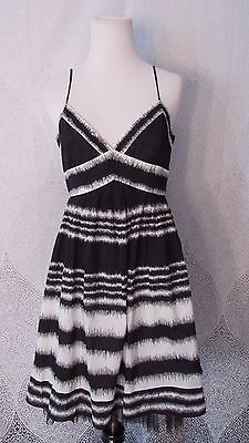 (BCBG MAX AZRIA Black White Cocktail Pleated Sequin Skirt Mesh Trim Dress Sz 6)