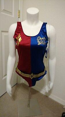 DC Comics Suicide Squad Harley Quinn Bodysuit Red/Blue Womens JR Size Large NEW!](Harley Quinn Bodysuit Costume)