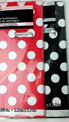 2 Polka Dot Table Cover Mickey Minnie Red Black Polka Dot Covers Mantel Rojo Neg](Minnie Mouse Table Cover)