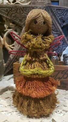 Vintage Rustic Christmas Angel Tree Topper Jute Body Burlap Face Wired Wings