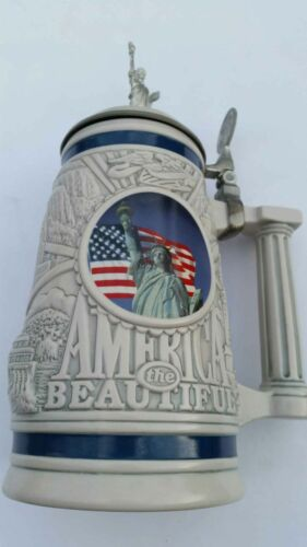 Avon 2002 America The Beautiful Twin Towers Statue of Liberty Lidded Stein