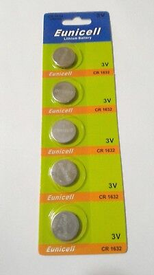 5 Pack CR1632 3v Lithium Batteries Coin Cell 125mAh Eunicell Exp 2022