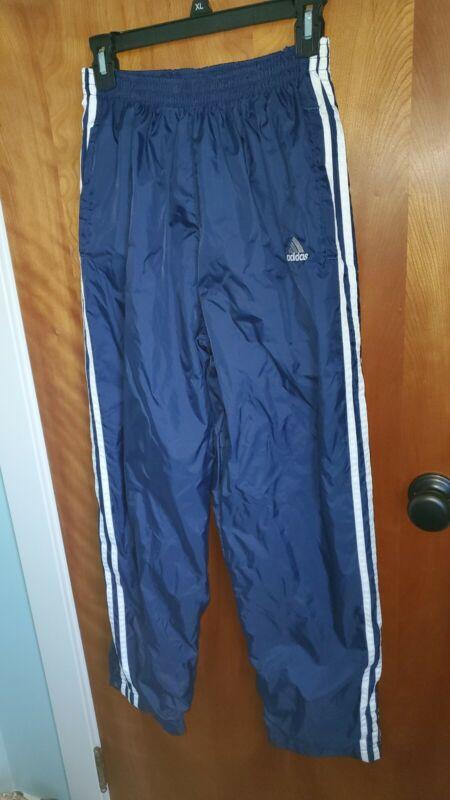 VTG 90s Adidas Black Nylon Swishy Windbreaker Track Pants Joggers Snap Leg S