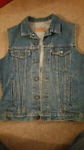 Levis Vintage Men Denim Sleeveless Jacket Vest Motorcycle CLASSIC Biker Retro 38