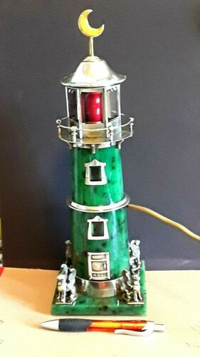 Antique Russian Silver , Nephrite and  Rock Crystal Lighthouse -Nightlight.