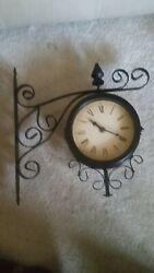 Beautiful & Decorative Wall Mounted Metal 2-sided Clock - Bronze VG+++++