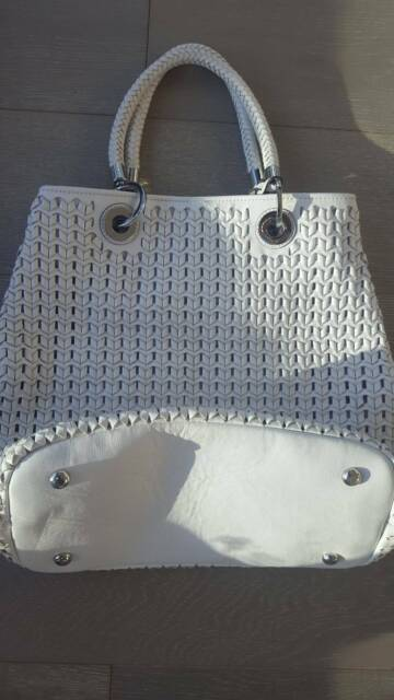 5b548ab4ed Karen Millen White Woven Leather Tote Shoulder Sling Bag | Bags ...