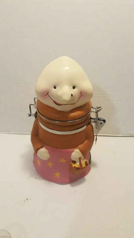 UNUSUAL Hand Painted MONK Lidded Cannister/Jar Ceramic