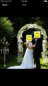 White metal fully decorated arch & wedding accessories for rent