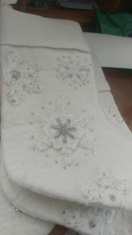 Pottery Barn Kids All That Glitters Christmas stocking Snowflake New