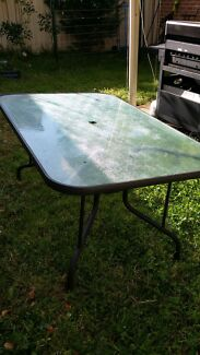 GLASS OUTDOOR TABLE  Kellyville Ridge Blacktown Area Preview